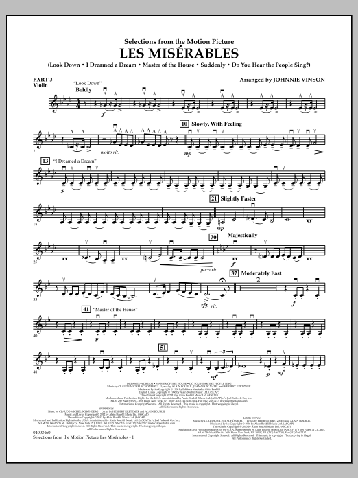 Johnnie Vinson Les Miserables (Selections from the Motion Picture) - Pt.3 - Violin sheet music notes and chords