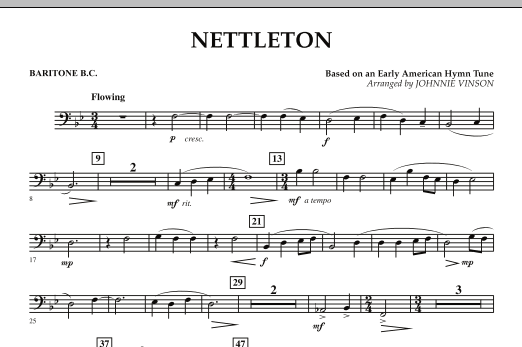 Johnnie Vinson Nettleton - Baritone B.C. sheet music preview music notes and score for Concert Band including 1 page(s)