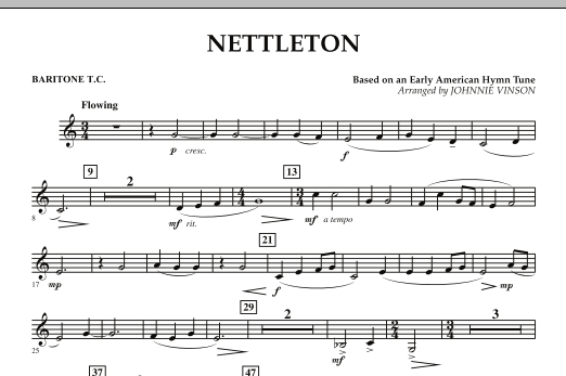 Johnnie Vinson Nettleton - Baritone T.C. sheet music preview music notes and score for Concert Band including 1 page(s)