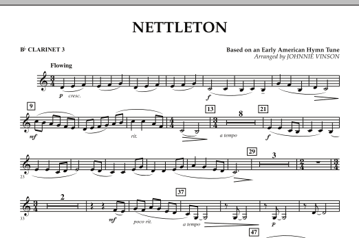Johnnie Vinson Nettleton - Bb Clarinet 3 sheet music preview music notes and score for Concert Band including 1 page(s)