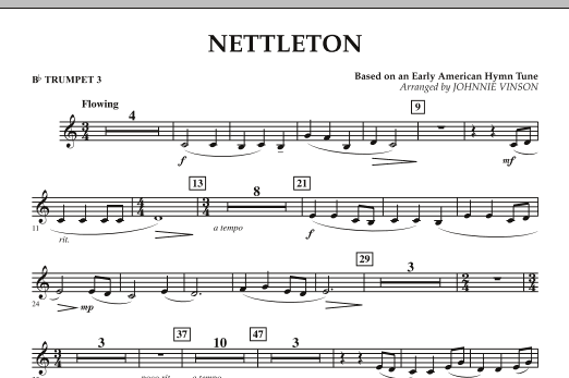 Johnnie Vinson Nettleton - Bb Trumpet 3 sheet music preview music notes and score for Concert Band including 1 page(s)