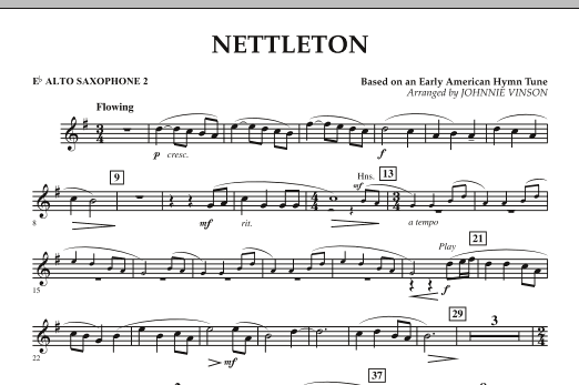 Johnnie Vinson Nettleton - Eb Alto Saxophone 2 sheet music preview music notes and score for Concert Band including 1 page(s)