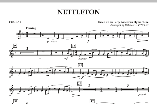 Johnnie Vinson Nettleton - F Horn 1 sheet music preview music notes and score for Concert Band including 1 page(s)