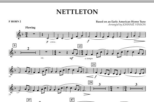 Johnnie Vinson Nettleton - F Horn 2 sheet music preview music notes and score for Concert Band including 1 page(s)