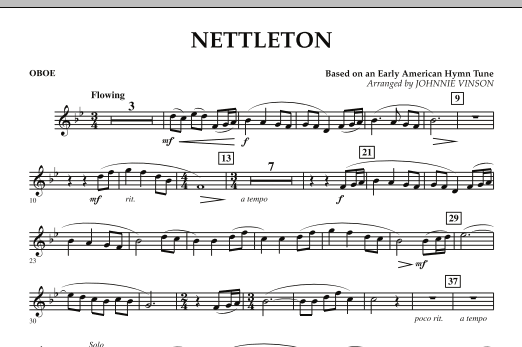 Johnnie Vinson Nettleton - Oboe sheet music preview music notes and score for Concert Band including 1 page(s)