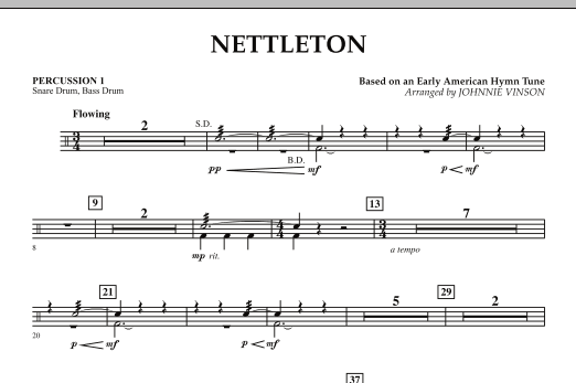 Johnnie Vinson Nettleton - Percussion 1 sheet music preview music notes and score for Concert Band including 1 page(s)
