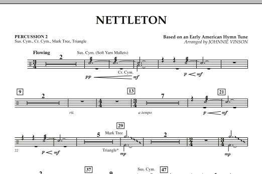 Johnnie Vinson Nettleton - Percussion 2 sheet music preview music notes and score for Concert Band including 1 page(s)