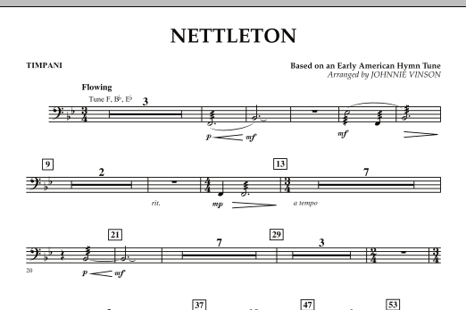 Johnnie Vinson Nettleton - Timpani sheet music preview music notes and score for Concert Band including 1 page(s)
