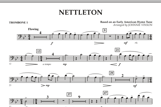 Johnnie Vinson Nettleton - Trombone 1 sheet music preview music notes and score for Concert Band including 1 page(s)