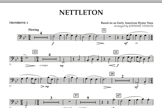 Johnnie Vinson Nettleton - Trombone 2 sheet music preview music notes and score for Concert Band including 1 page(s)