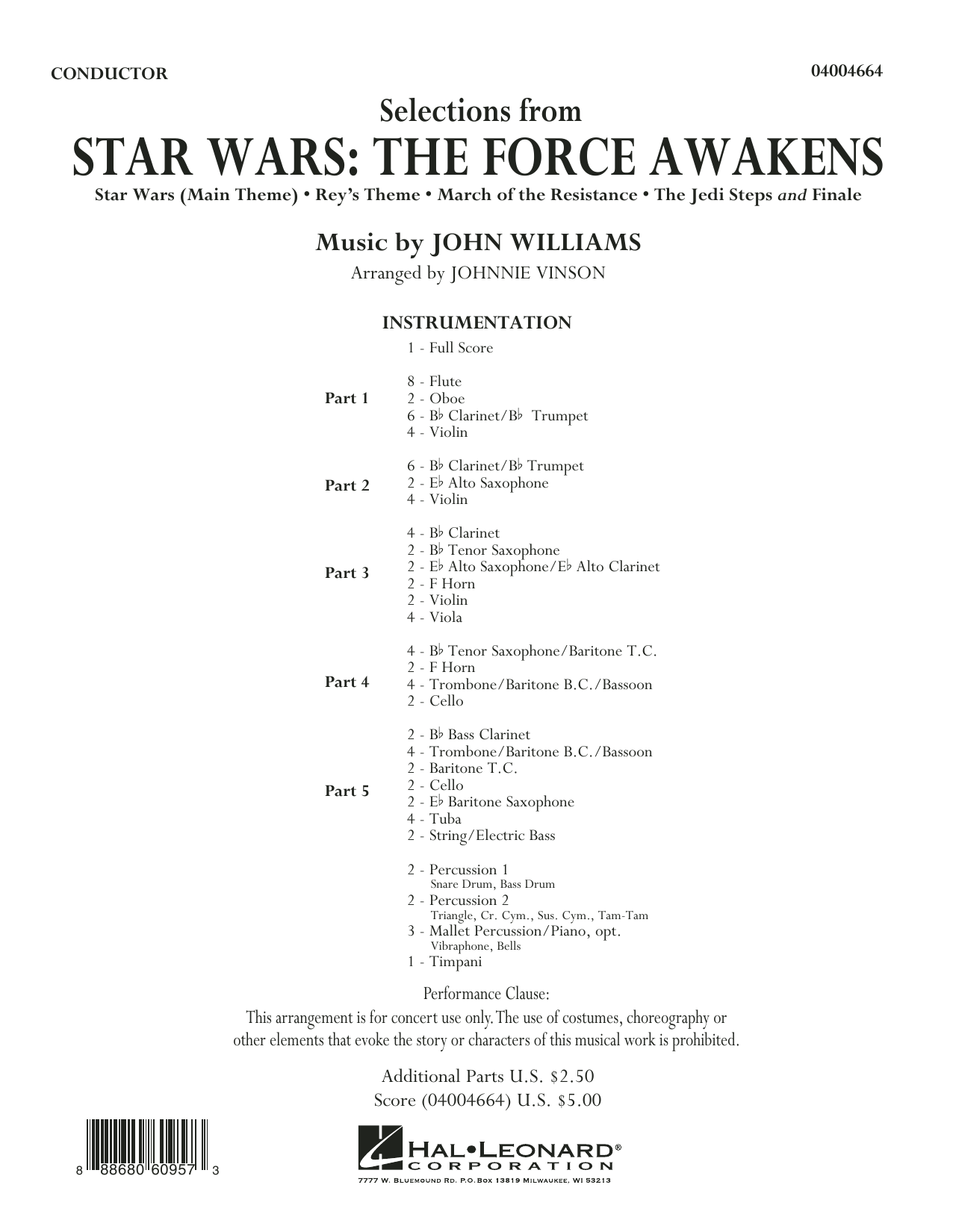 Johnnie Vinson Selections from Star Wars: The Force Awakens - Conductor Score (Full Score) sheet music preview music notes and score for Concert Band including 24 page(s)
