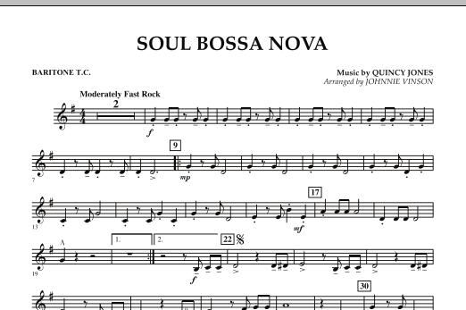 Johnnie Vinson Soul Bossa Nova - Baritone T.C. sheet music preview music notes and score for Concert Band including 1 page(s)