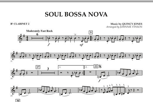 Johnnie Vinson Soul Bossa Nova - Bb Clarinet 2 sheet music preview music notes and score for Concert Band including 1 page(s)
