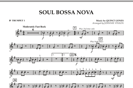 Johnnie Vinson Soul Bossa Nova - Bb Trumpet 1 sheet music preview music notes and score for Concert Band including 1 page(s)