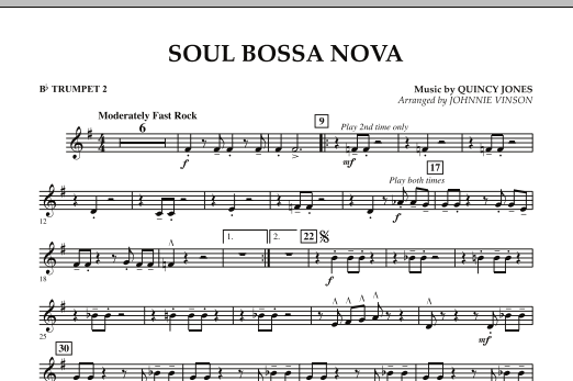 Johnnie Vinson Soul Bossa Nova - Bb Trumpet 2 sheet music preview music notes and score for Concert Band including 1 page(s)