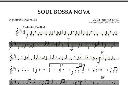 Johnnie Vinson Soul Bossa Nova - Eb Baritone Saxophone sheet music preview music notes and score for Concert Band including 1 page(s)