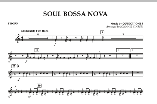 Johnnie Vinson Soul Bossa Nova - F Horn sheet music preview music notes and score for Concert Band including 1 page(s)