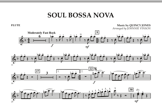 Johnnie Vinson Soul Bossa Nova - Flute sheet music preview music notes and score for Concert Band including 1 page(s)
