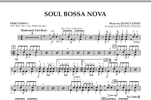 Johnnie Vinson Soul Bossa Nova - Percussion 1 sheet music preview music notes and score for Concert Band including 1 page(s)