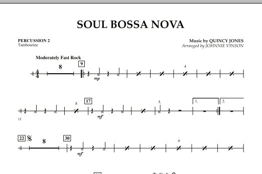 Johnnie Vinson Soul Bossa Nova - Percussion 2 sheet music preview music notes and score for Concert Band including 1 page(s)