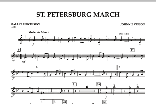 Johnnie Vinson St. Petersburg March - Mallet Percussion sheet music preview music notes and score for Concert Band including 1 page(s)