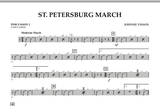 Johnnie Vinson St. Petersburg March - Percussion 2 sheet music preview music notes and score for Concert Band including 1 page(s)