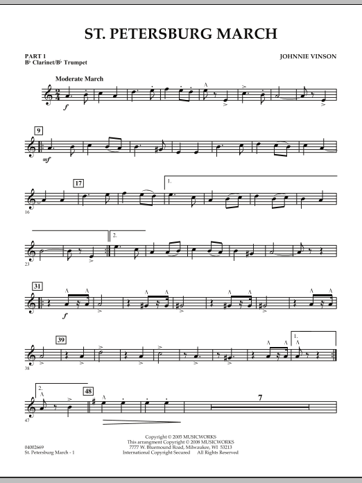 Johnnie Vinson St. Petersburg March - Pt.1 - Bb Clarinet/Bb Trumpet sheet music preview music notes and score for Concert Band including 2 page(s)