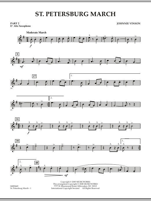 Johnnie Vinson St. Petersburg March - Pt.2 - Eb Alto Saxophone sheet music preview music notes and score for Concert Band including 2 page(s)