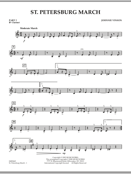 Johnnie Vinson St. Petersburg March - Pt.3 - Bb Clarinet sheet music preview music notes and score for Concert Band including 2 page(s)