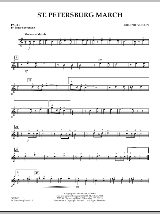 Johnnie Vinson St. Petersburg March - Pt.3 - Bb Tenor Saxophone sheet music preview music notes and score for Concert Band including 2 page(s)