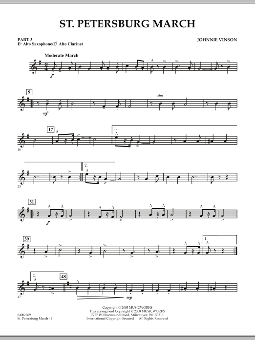 Johnnie Vinson St. Petersburg March - Pt.3 - Eb Alto Sax/Alto Clar. sheet music preview music notes and score for Concert Band including 2 page(s)