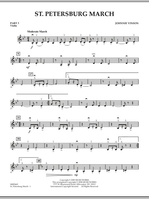 Johnnie Vinson St. Petersburg March - Pt.3 - Violin sheet music preview music notes and score for Concert Band including 2 page(s)
