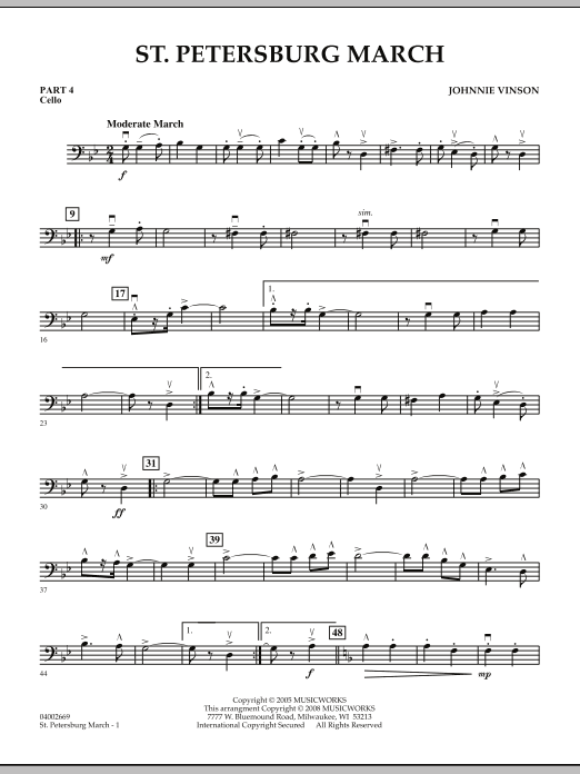 Johnnie Vinson St. Petersburg March - Pt.4 - Cello sheet music preview music notes and score for Concert Band including 2 page(s)
