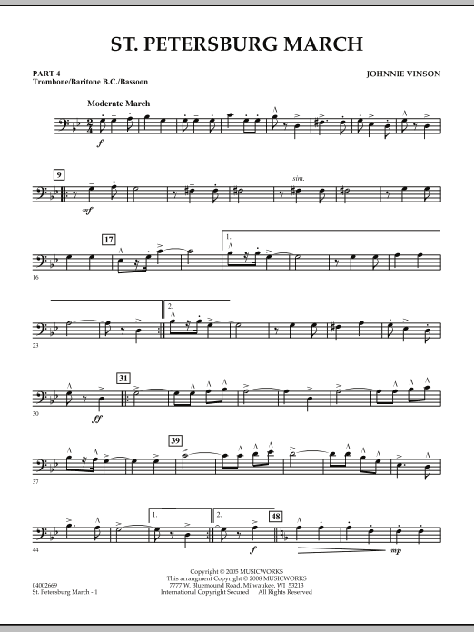 Johnnie Vinson St. Petersburg March - Pt.4 - Trombone/Bar. B.C./Bsn. sheet music preview music notes and score for Concert Band including 2 page(s)