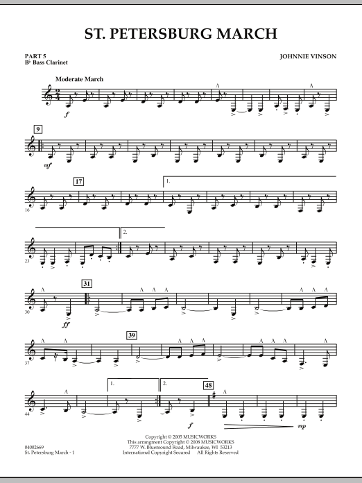Johnnie Vinson St. Petersburg March - Pt.5 - Bb Bass Clarinet sheet music preview music notes and score for Concert Band including 2 page(s)