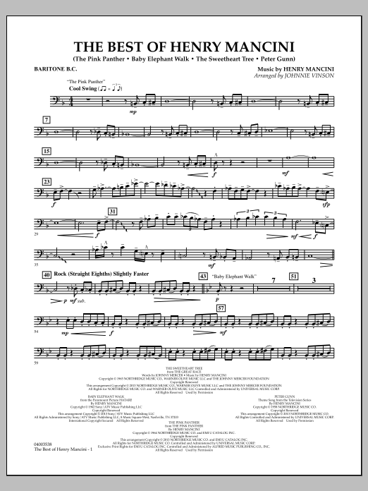 Johnnie Vinson The Best of Henry Mancini - Baritone B.C. sheet music notes and chords