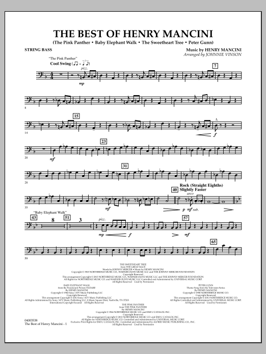 Johnnie Vinson The Best of Henry Mancini - Bass sheet music notes and chords