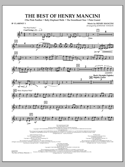 Johnnie Vinson The Best of Henry Mancini - Bb Clarinet 1 sheet music notes and chords