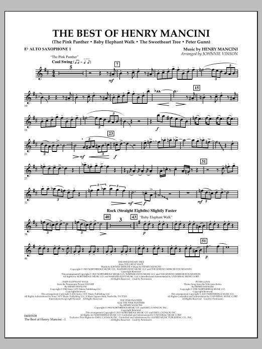 Johnnie Vinson The Best of Henry Mancini - Eb Alto Saxophone 1 sheet music notes and chords