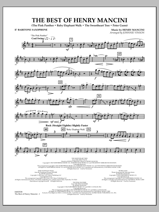 Johnnie Vinson The Best of Henry Mancini - Eb Baritone Saxophone sheet music notes and chords