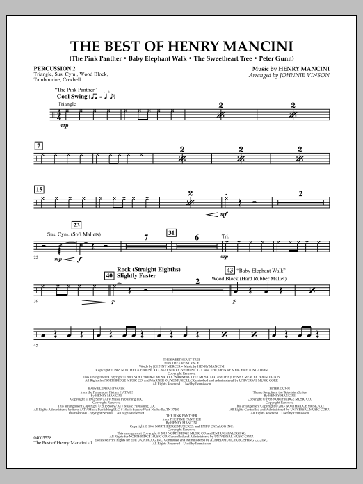 Johnnie Vinson The Best of Henry Mancini - Percussion 2 sheet music notes and chords