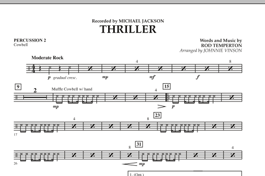 Johnnie Vinson Thriller - Percussion 2 sheet music preview music notes and score for Concert Band including 1 page(s)