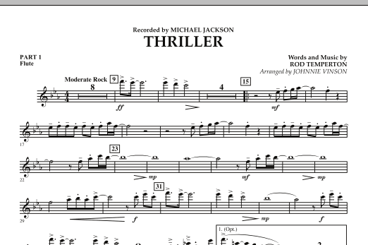 Johnnie Vinson Thriller - Pt.1 - Flute sheet music preview music notes and score for Concert Band including 1 page(s)