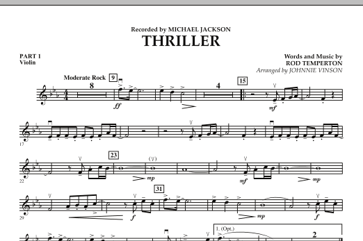 Johnnie Vinson Thriller - Pt.1 - Violin sheet music preview music notes and score for Concert Band including 1 page(s)