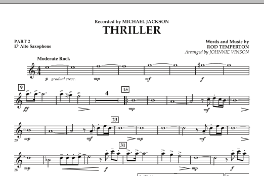 Johnnie Vinson Thriller - Pt.2 - Eb Alto Saxophone sheet music preview music notes and score for Concert Band including 1 page(s)