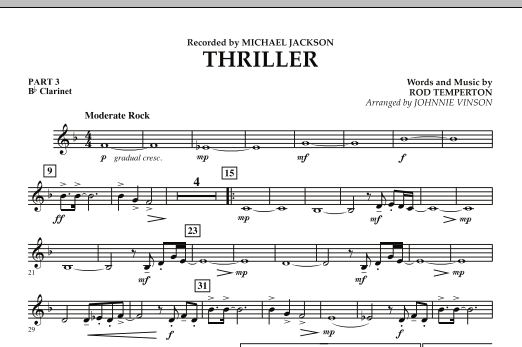 Johnnie Vinson Thriller - Pt.3 - Bb Clarinet sheet music preview music notes and score for Concert Band including 1 page(s)