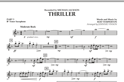 Johnnie Vinson Thriller - Pt.3 - Bb Tenor Saxophone sheet music preview music notes and score for Concert Band including 1 page(s)