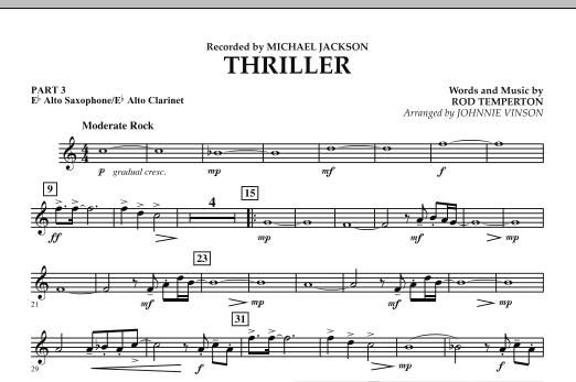 Johnnie Vinson Thriller - Pt.3 - Eb Alto Sax/Alto Clar. sheet music preview music notes and score for Concert Band including 1 page(s)