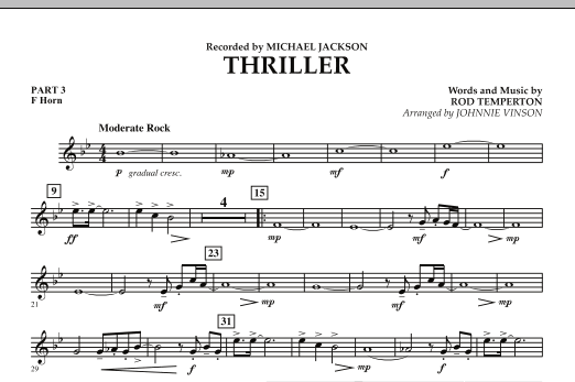 Johnnie Vinson Thriller - Pt.3 - F Horn sheet music preview music notes and score for Concert Band including 1 page(s)
