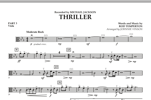 Johnnie Vinson Thriller - Pt.3 - Viola sheet music preview music notes and score for Concert Band including 1 page(s)